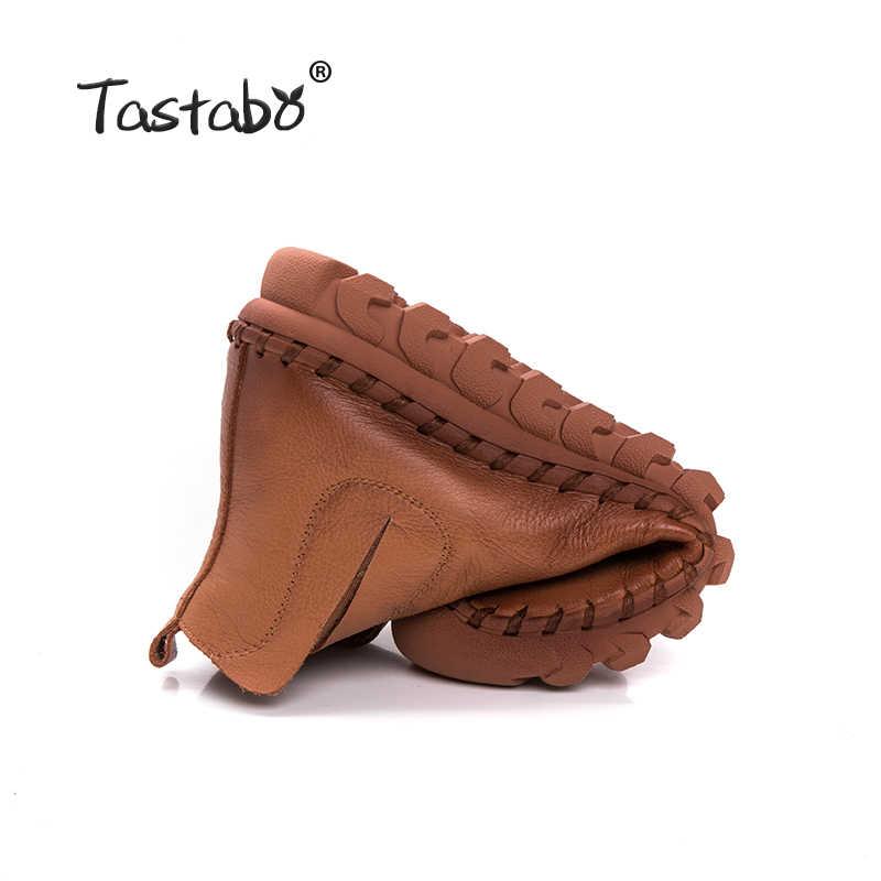 Tastabo El Yapımı yarım çizmeler Kürk Retro Çizmeler Ayakkabı Kadın Moda El Yapımı Slip-on Yumuşak Deri Kış sıcak Çizmeler Bayanlar