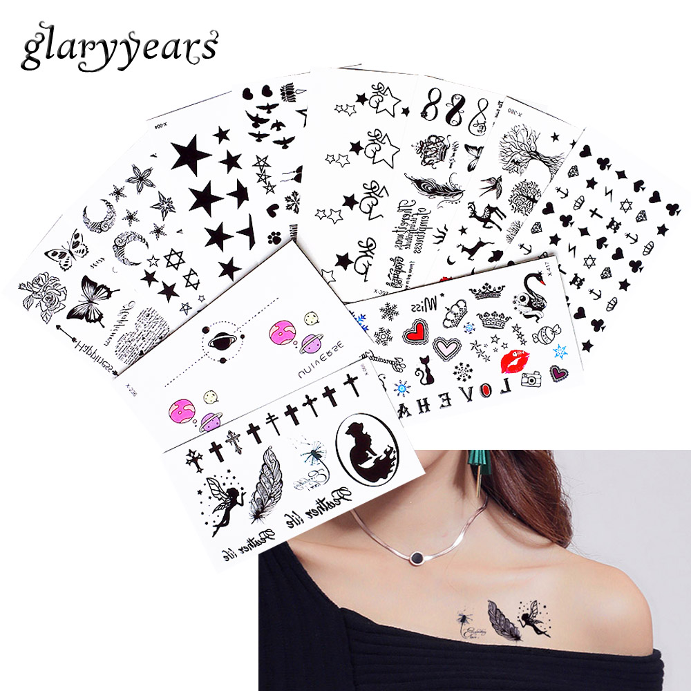 2019 New 1 Sheet Heart Infinity Gift Tattoo Temporary Waterproof Body Henna Hand Neck Ear Art Tattoo Sticker For Women Men Party