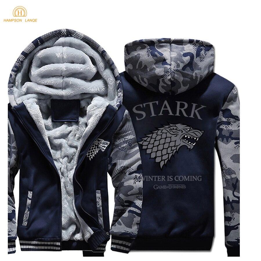 Игра престолов House Stark модные толстовки с капюшоном для мужчин s куртки 2018 зимние теплые флисовые Высокое качество кофты Сгущает