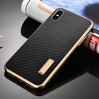 Original iMatch Aluminum Metal Bumper & Real Carbon Fiber Case For iPhone XS/ XS MAX Back Cover Luxury Phone Cases For iPhone X