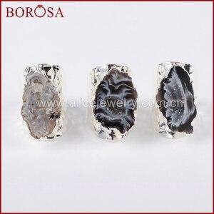 Image 2 - BOROSA 5/10 adet gümüş renk serbest doğal kristal Agates Druzy yüzükler kadınlar için açık Band yüzükler taşlar yüzük takı hediyeler S1388