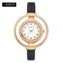 Gaiety Brand Watches Women Fashion Luxury Watch Rose Gold Creative Ladies Quartz Wristwatch Casual Gift Leather Strap Watch G467