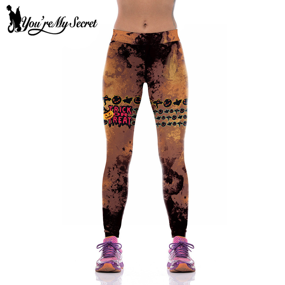 [You're My Secret] Harajuku Leggings Women Fitness Legging Bat Pumpkin Lights Lantern 3D Leggings Halloween High Waist Leggings
