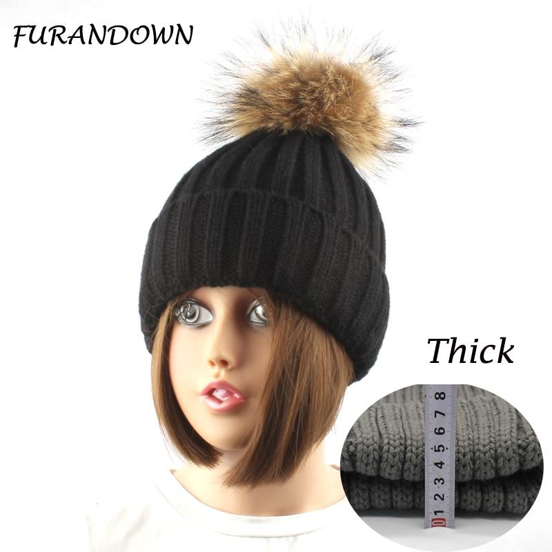 FURANDOWN Musim Dingin Tebal Hangat Wol Knitting Beanie Topi Untuk - Aksesori pakaian - Foto 1