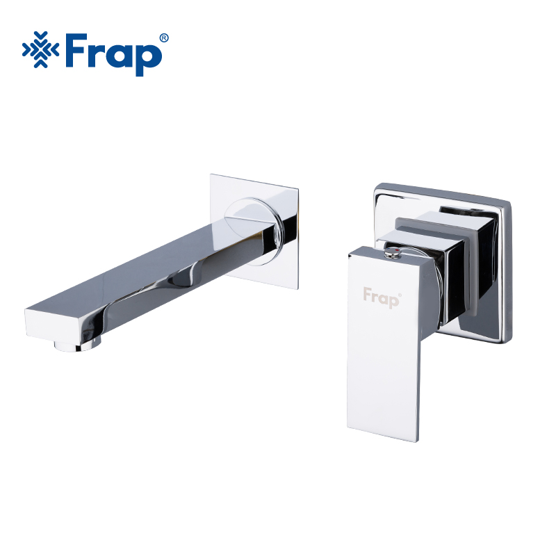FRAP Single Handle brass Basin Faucets Wall Mounted Waterfall Sink Faucet Surface Chrome Finished Bathroom Mixer