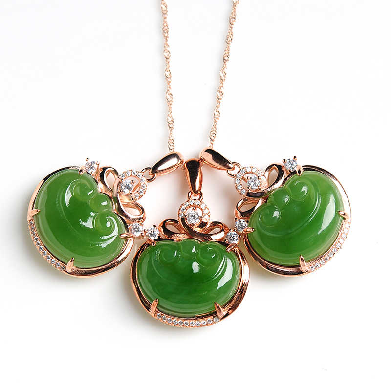 Naturalny zielony Hetian Jades RUYI wisiorek rzeźbione wisiorki kobiet lub mężczyzn Amulet nefrytu biżuteria Jades