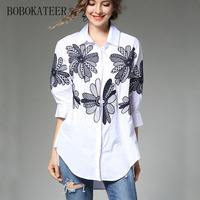 BOBOKATEER Summer Embroidery Loose White Blue V Neck Long Women Sleeve Embroidery Blouse Shirt Tops Blusas