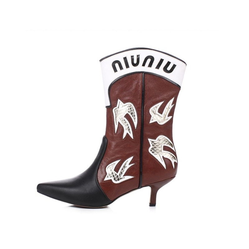 2018 Hot Autumn Winter Shoes Woman Leather Mid Boots Point Toe Calf Height Slip On Design Woman Embroider Boots Plus Size S цена