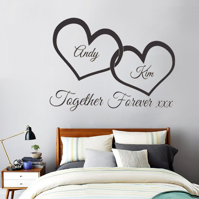 W147 together forever xxx entwined love hearts personalised wall art vinyl couple wall sticker for bedroom