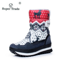 Free Shipping 2016 Popular Snow Boots For Women Flat Heel 3 Colors High Quality Cotton Waterproof