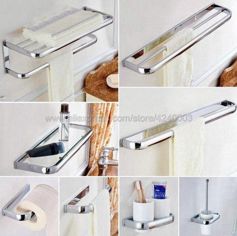 Polished Chrome Square Bathroom Hardware Sets Bath Accessories Wall Mounted Paper Towel Holder Bath Towel Bar Rack Kxz002