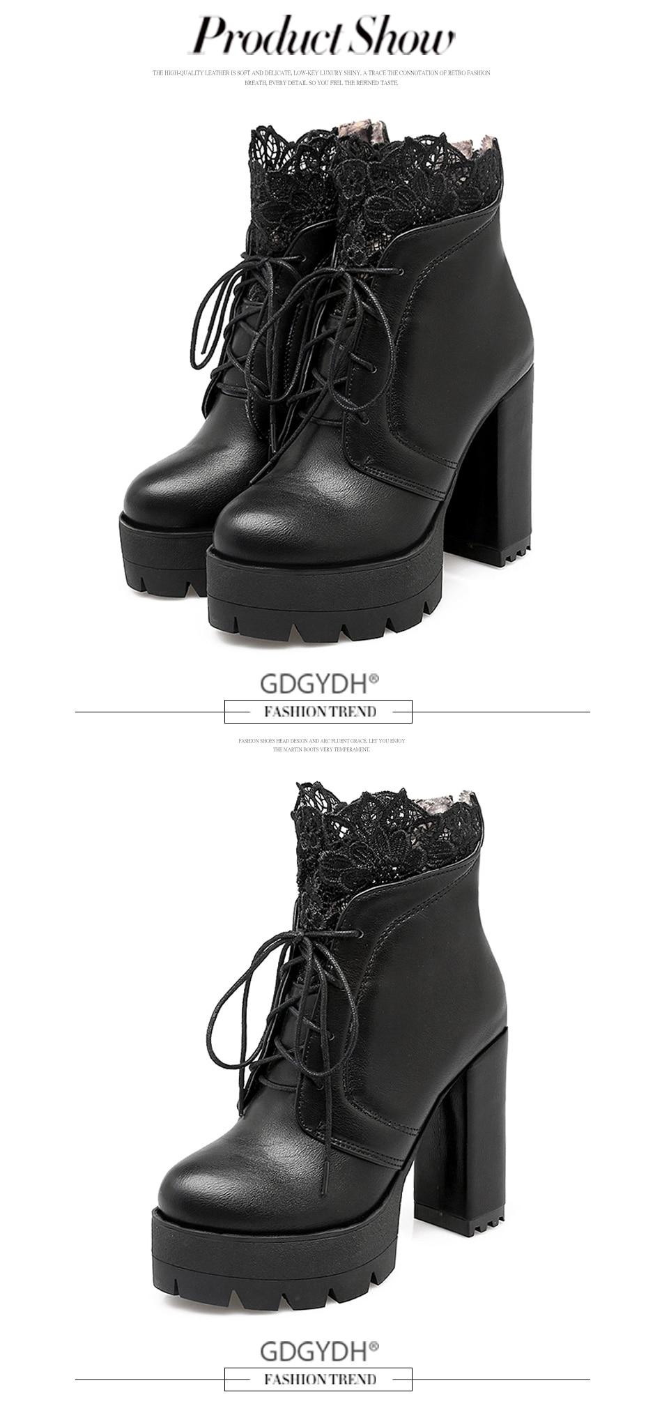 Gdgydh 2019 г. осенние женские ботинки на платформе со шнуровкой ... 8d16dc28dbd0f