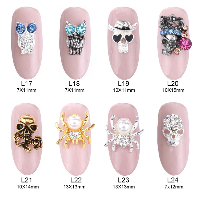 10pcs Rose Skull Spider Rhinestone Nail Design Gold Jewelry Metal