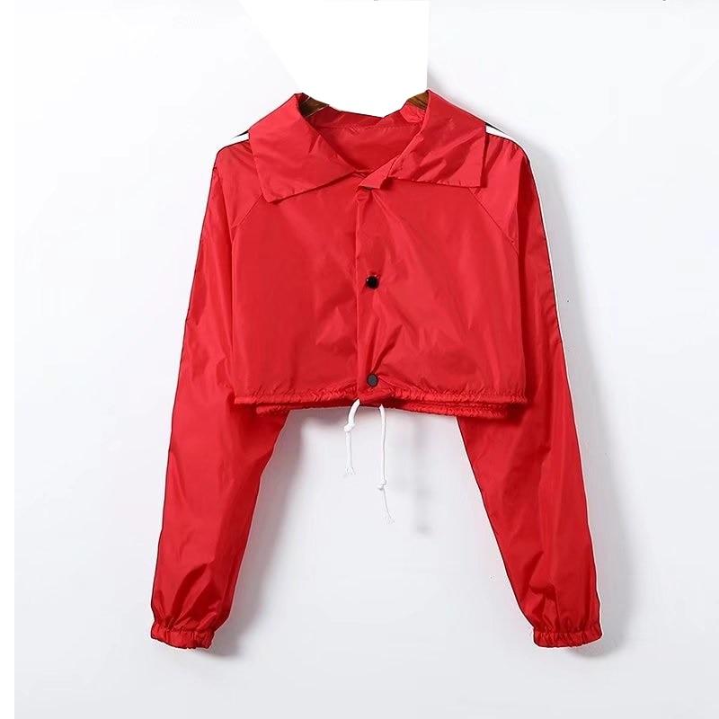 European And American Street Style Drawstring Side Stripe Design Short Length Crop Thin Sun Protection Long Sleeve Jacket