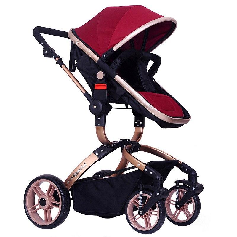 High Quality Folding Baby Stroller Infant Pushchair Travel Safety Pram Carriage High Landscape Baby Stroller Toddler Buggy