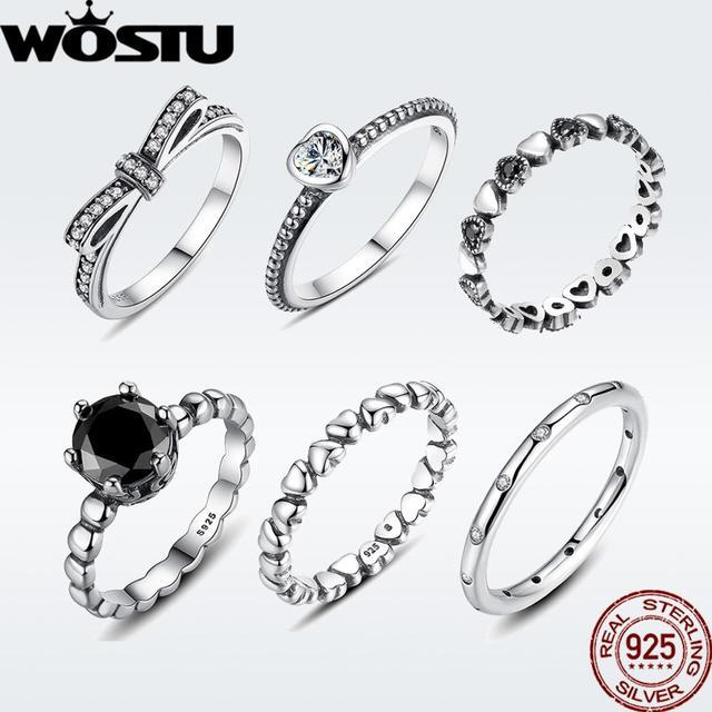WOSTU מכירה לוהטת 925 סטרלינג כסף טבעות לנשים אירופאי מקורי חתונה אופנה מותג טבעת תכשיטי מתנה
