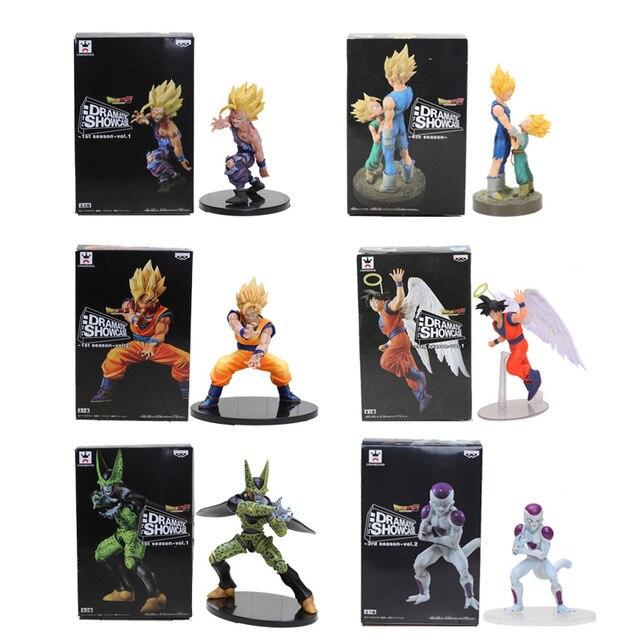 11-21 centímetros Dragon Ball Z Son Goku Gohan Vegeta Trunks Frieza Celular PVC Figuras de Ação Modelo VITRINE DRAMÁTICA boneca de brinquedo Figuras