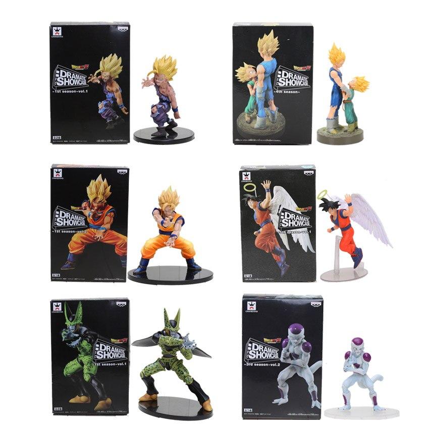 11-21 cm Dragon Ball Z Vegeta Trunks Goku Gohan Cella Freezer PVC Action Figures DRAMMATICA VETRINA Modello Bambola giocattolo Figuras