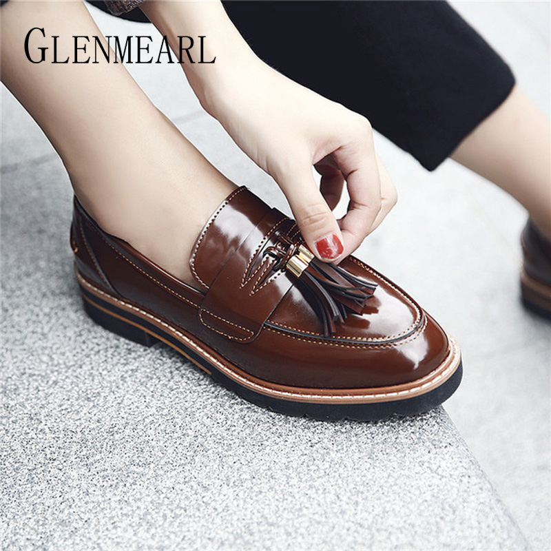 Genuine Leather Women Loafers Summer Shoes Woman Flats British Style Small Leather Shoes Tassel Casual Shoes