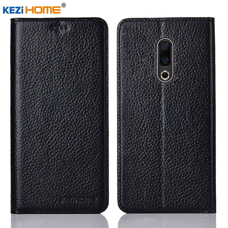 for Meizu 16 16th case KEZiHOME Litchi Genuine Leather Flip Stand Leather Cover capa For Meizu 16 Phone cases