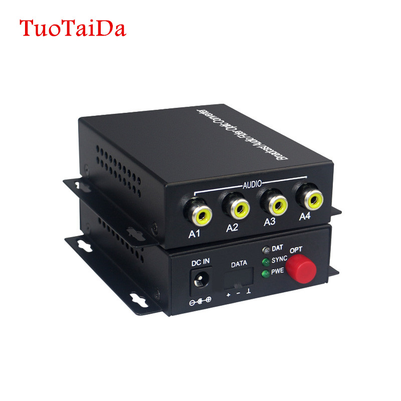 4 Channel Audio Optical Converter Audio Broadcast Fiber Transceiver For Audio Intercom Broadcast System (Tx/Rx) 1 Set