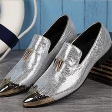 2017 Nueva Moda de Punta estrecha Hombres Holgazanes Diseñador de Zapatillas Superstar Hombres Zapatos Zapatos Para Hombre Zapatos de Vestir del Banquete de Plata