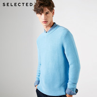 SELECTED Men's 100% Cotton Round Neckline Regular Fit Knitted Sweater S|419124502