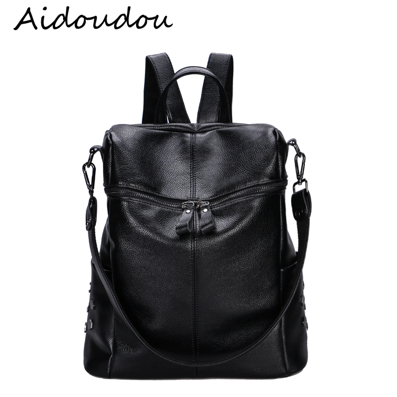 Genuine Leather Women Backpacks Rivet Black Soft waterproof backpack Schoolbags For Girls Female Leisure Bag mochilas
