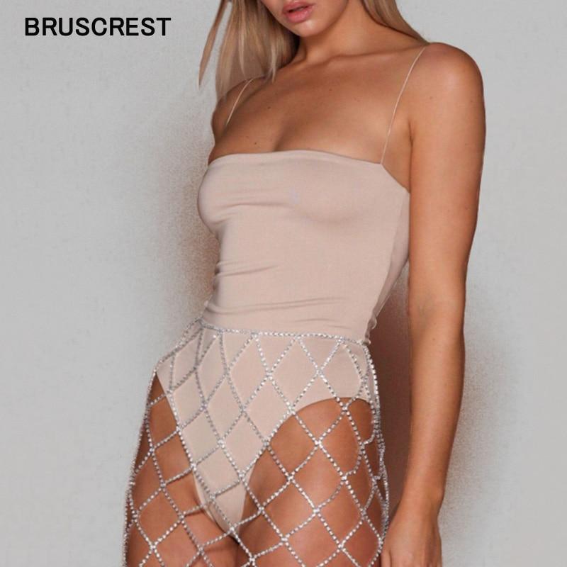 Summer Spaghetti Strap Cami Bodycon Sexy Bodysuit Women Two Layers Never See Through White Bodysuit Streetwear