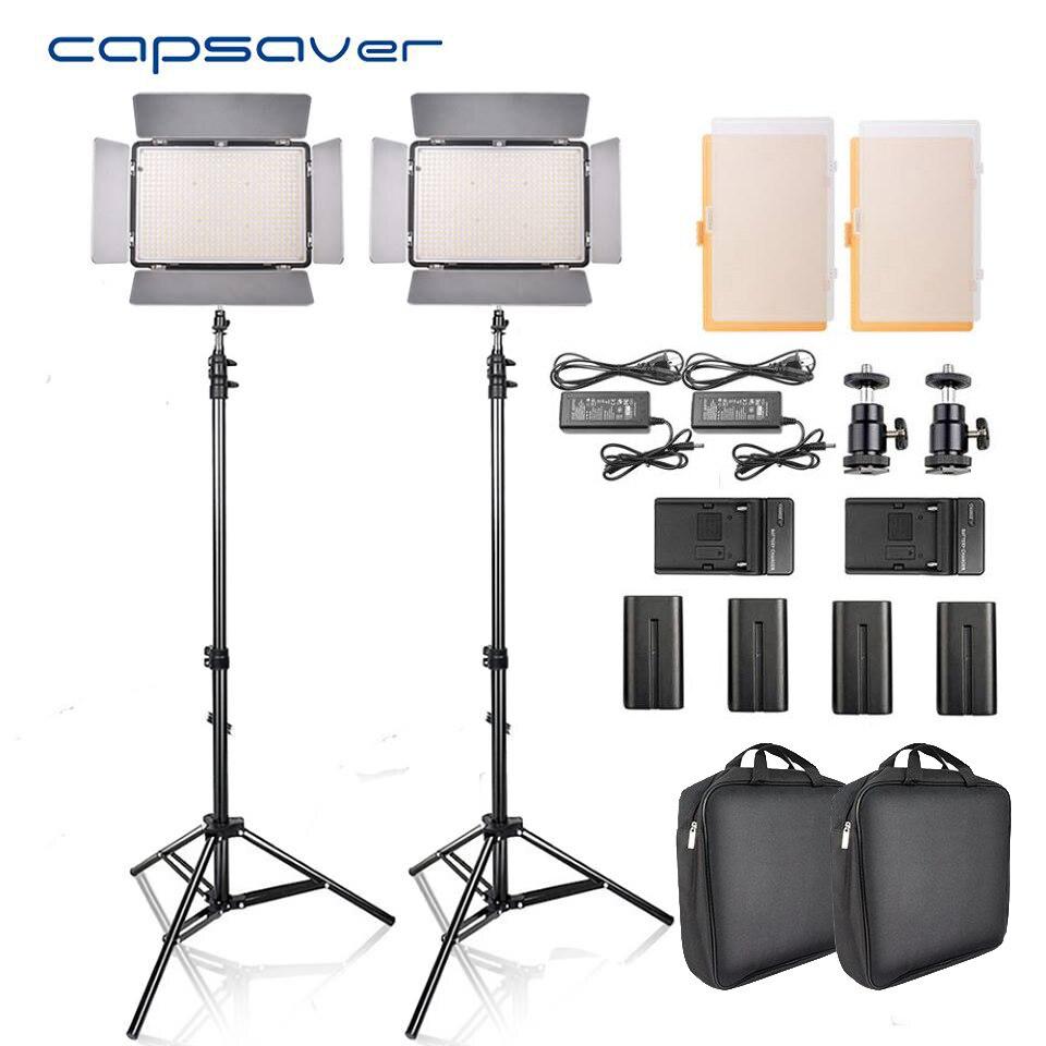 Capsaver TL-600S 2 pz LED Luce Video Studio Fotografico Fotografia di Illuminazione A led del Pannello Della Lampada con il Treppiedi 5500 k CRI 95 NP-F550 Batteria