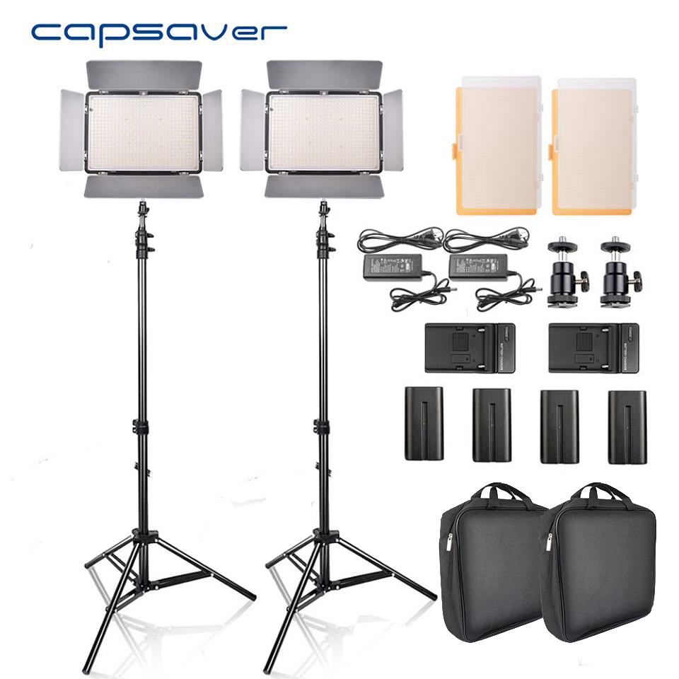capsaver TL-600S 2pcs LED Video Light Studio Photo Photography Lighting led Panel Lamp with Tripod 5500K CRI 95 NP-F550 Battery все цены