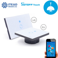 Itead Sonoff Wall Wifi Switch EU US Luxury Glass Panel Touch LED Wireless Remote Control Light