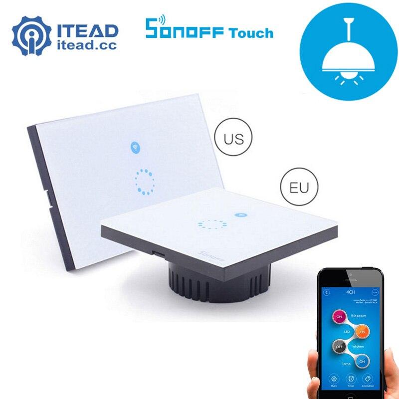imágenes para Itead Sonoff Táctil de Pared Interruptor Wifi-UE/EE.UU. Panel de Cristal de Lujo táctil LED Wi-fi de Control Remoto Inalámbrico Interruptor de la Luz de Casa Inteligente
