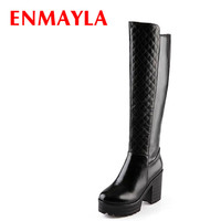 ENMAYLA Square Heels Women Platform Boots Nice Solid Fashion Boots Women Zipper High Heels Knee high Shoes Woman Winter Boots