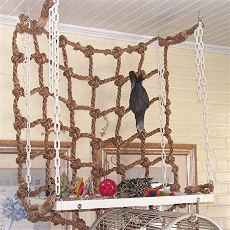 40*40cm Parrot Climbing Net Bird Toy Swing Rope Net Bird Stand Net Hammock With Hook Bird Hanging Climbing Chewing Biting Toys