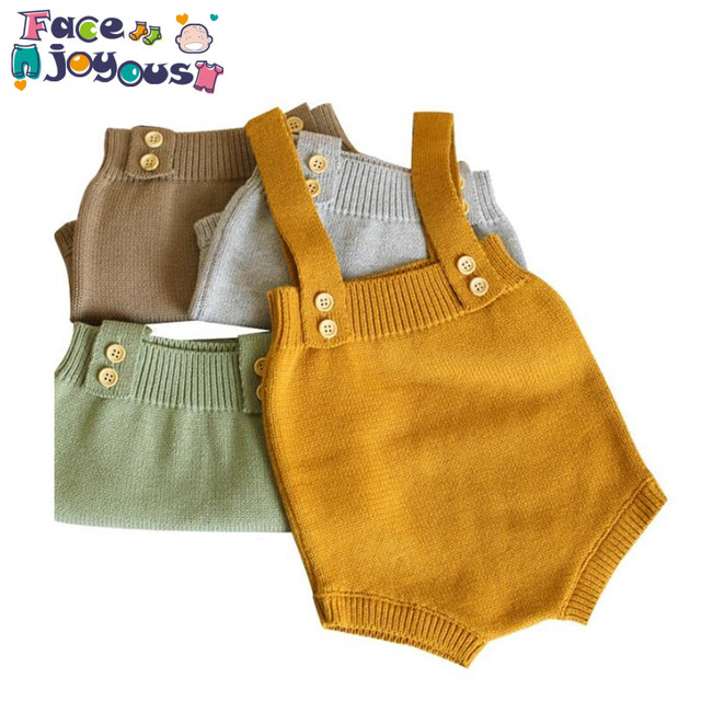 Baby Knitting Rompers Cute Overalls Newborn Baby Girls Boys Clothes Infantil Baby Girl Boy Sleeveless Romper Jumpsuit 0-24m