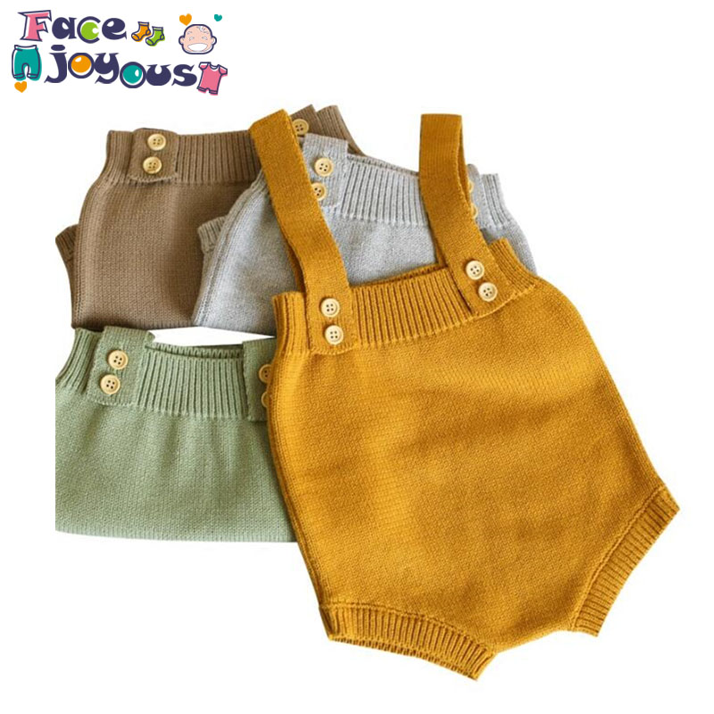 De punto de bebé monos lindo mono recién nacido bebé niñas niños ropa Infantil bebé niño sin mangas mameluco mono 0-24 M