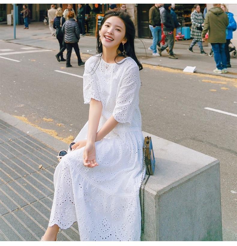 2018 summer women white dress nice long dress