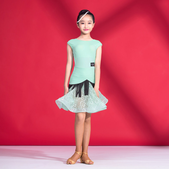 ed0c77382 Fashion lace tassel sexy Latin dance one-piece dresses for little girl/ children/