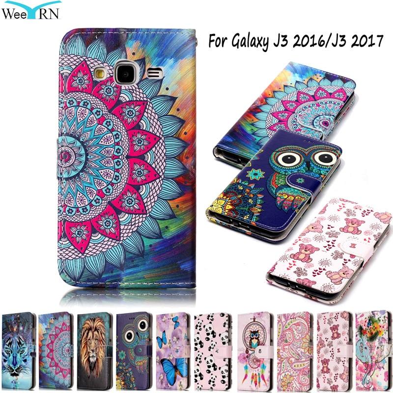 Galleria fotografica For Samsung Galaxy J3 2016/J3 2017 Case Luxury Leather Wallet Flip Cover For Funda Samsung Galaxy J3 2016 J320 Cover Phone Cases