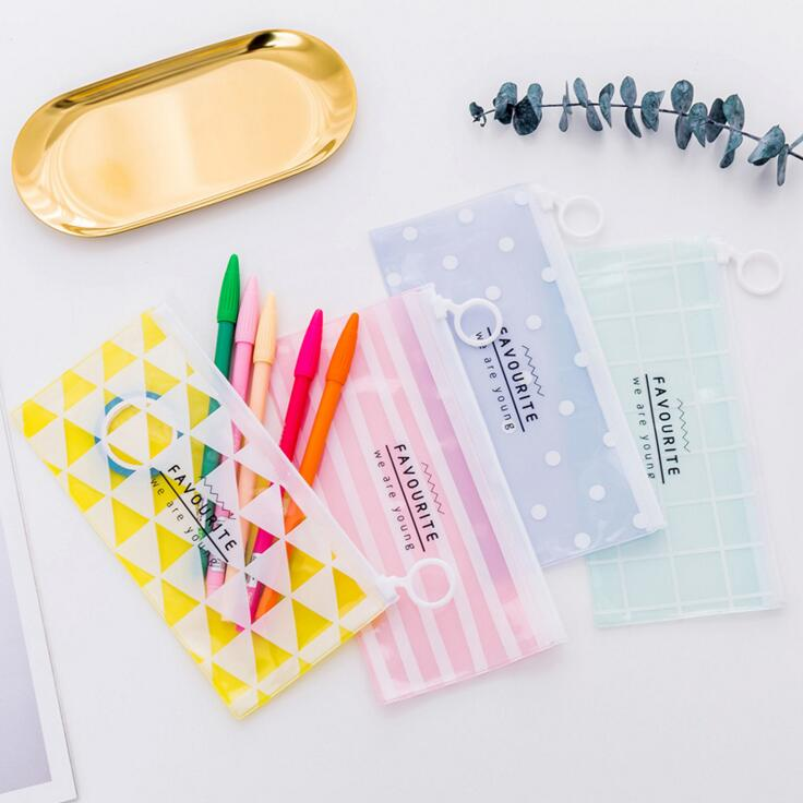 1 Pieces New Korean School Stationery Lovely Cute Kawaii Creative PVC Envelope To Receive Bag Fresh Translucent Folder Bags