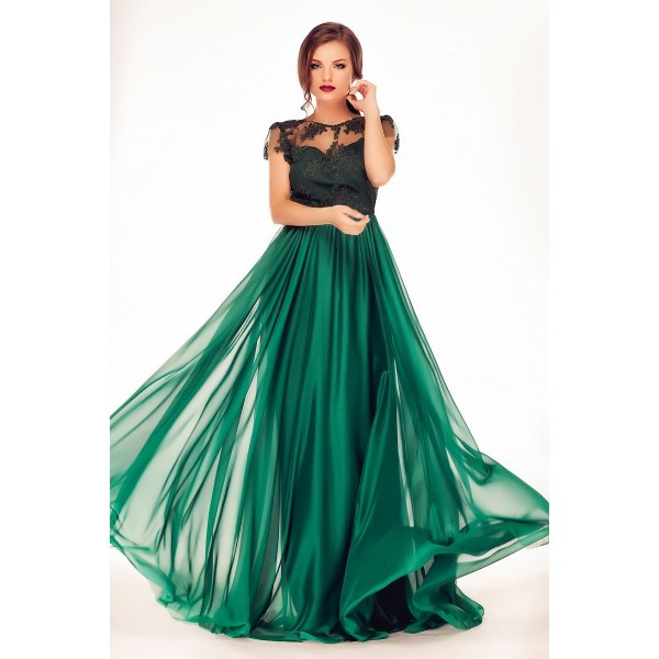 Emerald Green New Arrival 2016 Chiffon Black Lace Cap Sleeves A Line