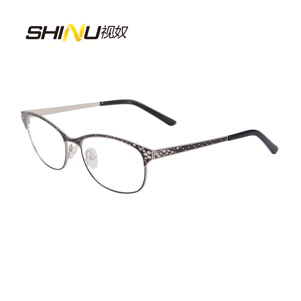 metal glasses frames woman man half rim stainless steel spectacles double color plating eyeglasses frame with