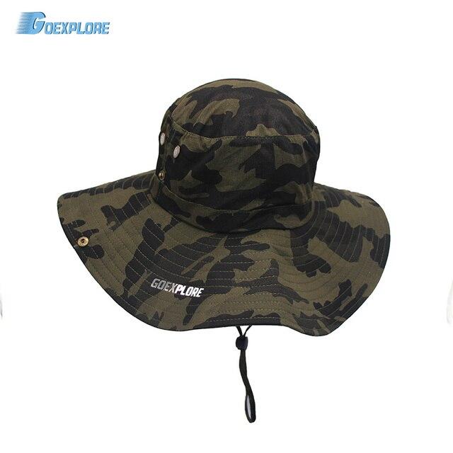 b9d5a9d694b15 Outdoor Fishing Hat Breathable Sunsade Wide flange Cap women Unisex summer  sport beach hunting Hiking camouflage Bucket Hat men