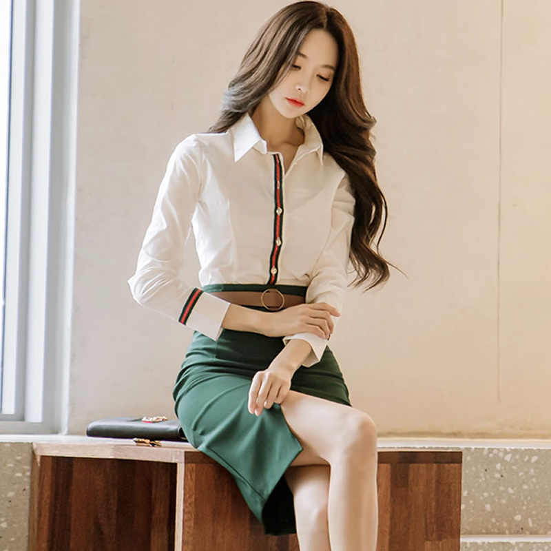 1c186b3c1867f Full Sleeve Office Blouse Shirt Women Two Pieces Sets Slit Pencil Bodycon  Skirts Knee-Length Sexy Work Cloth Autumn Suit Dresses