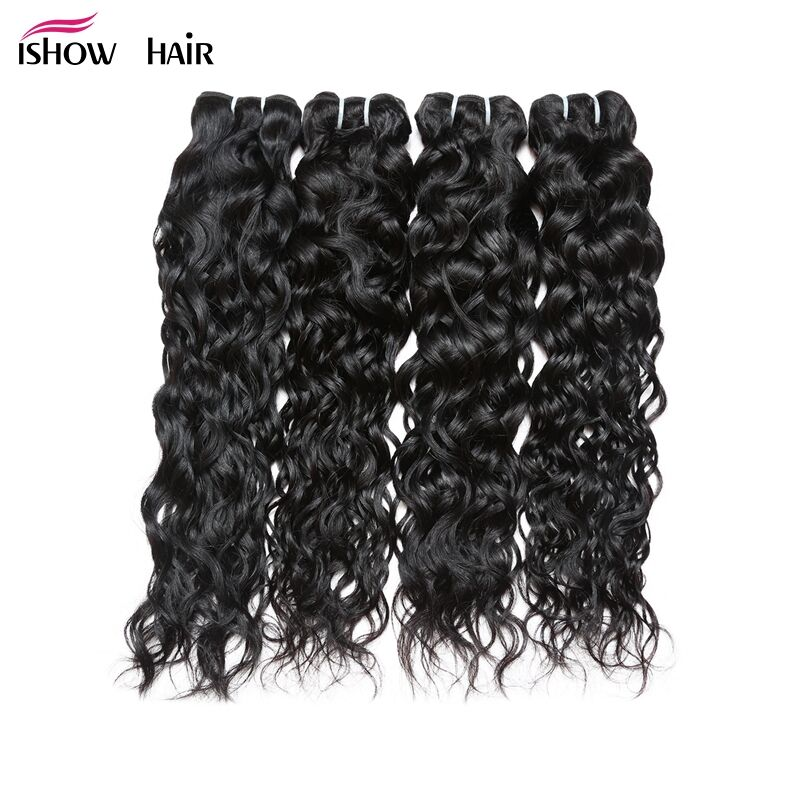 Ishow 4 Bundles Water Wave Indian Human Hair Bundles Deal Natural Black Non-Remy Hair Extensions Can Be Dyed 100g/pc Hair Weave