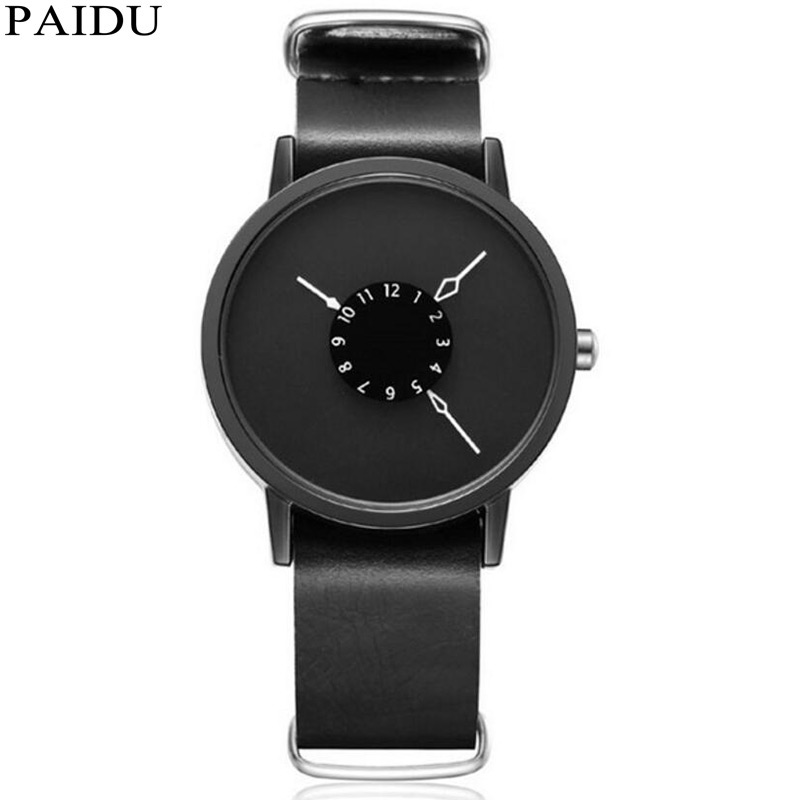 Simple Unique Creative 3 Big Hands Leather Hours Cool Minimalist Watch Fashion Unisex Watches For Men Girl Women Gifts