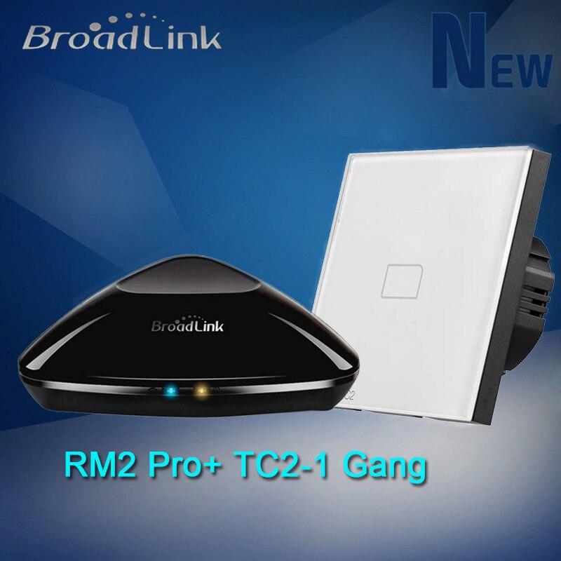 Smart Home Broadlink RM Pro ունիվերսալ ինտելեկտուալ հեռակառավարիչ + TC2 UK EU 1 Gang անլար թեթև հպման անջատիչ iOS Android- ի համար