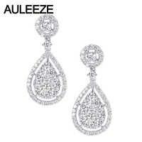 AULEEZE Luxus 1,5 CTTW Moissanite Ohrringe Solide 14K 585 Weiß Gold Lab Grown Diamant Ohrringe Hochzeit Party Feine schmuck