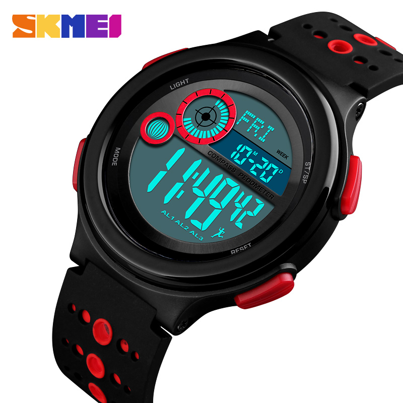 Skmei Men Sport Watch Compass pedometer calorie mileage distance Countdown Metronome Digital Watches Man Waterproof Clock 1375